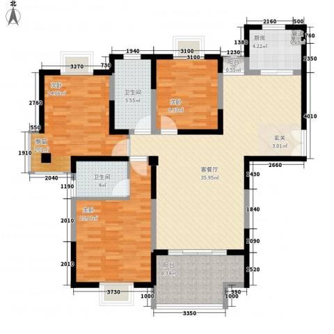 我家山水3室1厅2卫1厨97.35㎡户型图