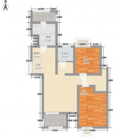 亿城山水颐园2室1厅1卫1厨110.00㎡户型图