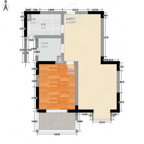 枫林雅都1室1厅1卫1厨72.00㎡户型图