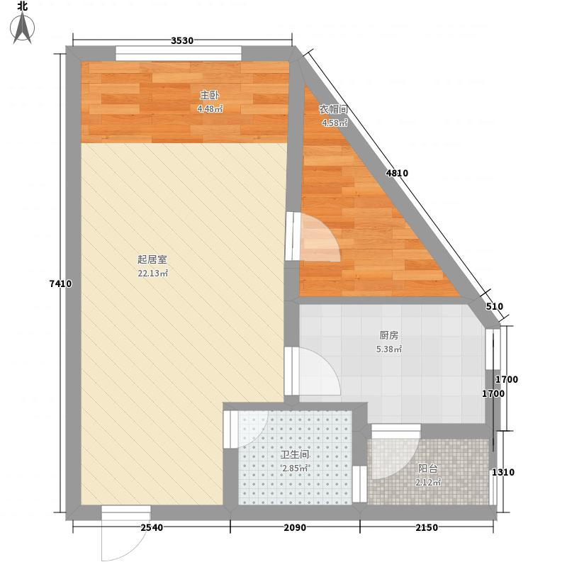 龙光翠竹苑4.58㎡2单元02号房4-14层户型1室1厅1卫1厨
