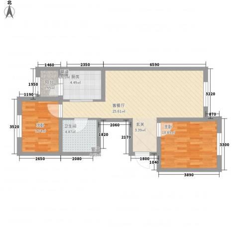 阳光乘风新城2室1厅1卫1厨83.00㎡户型图
