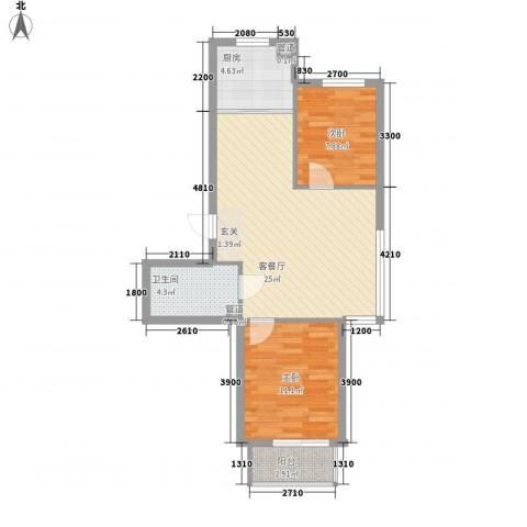 金石华庭2室1厅1卫1厨77.00㎡户型图