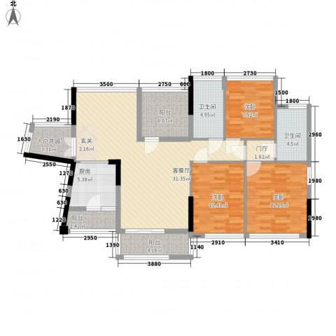佳兆业水岸豪门3室1厅2卫1厨114.00㎡户型图