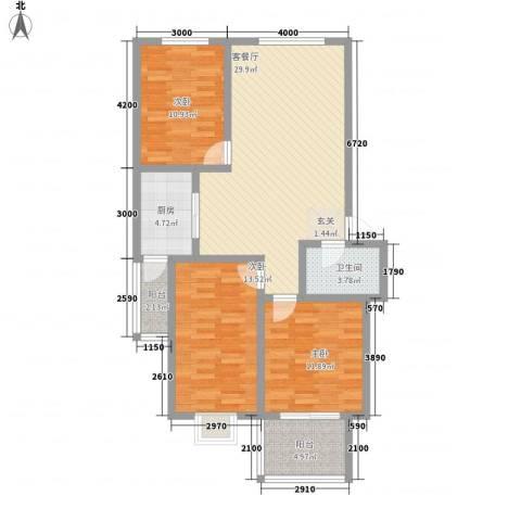鑫缘佳地3室1厅1卫1厨118.00㎡户型图