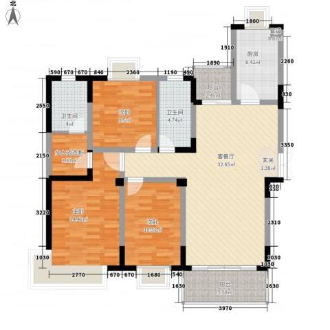 保集半岛3室1厅2卫1厨136.00㎡户型图