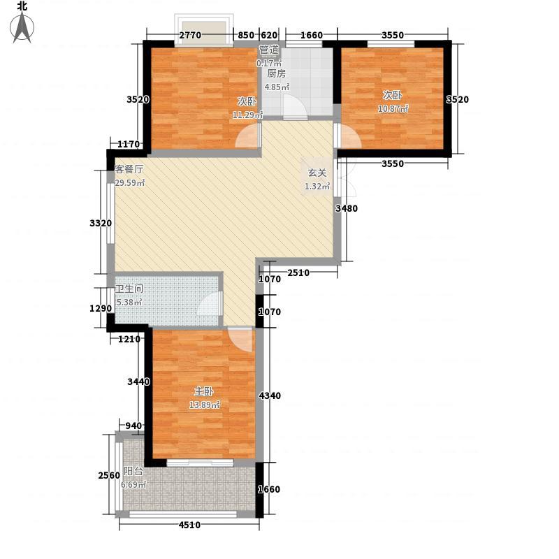 东方银座117.45㎡东方银座户型图缤纷假日3室2厅1卫1厨户型3室2厅1卫1厨