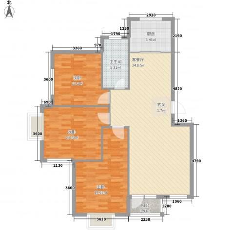 鑫馨佳园3室1厅1卫1厨113.00㎡户型图
