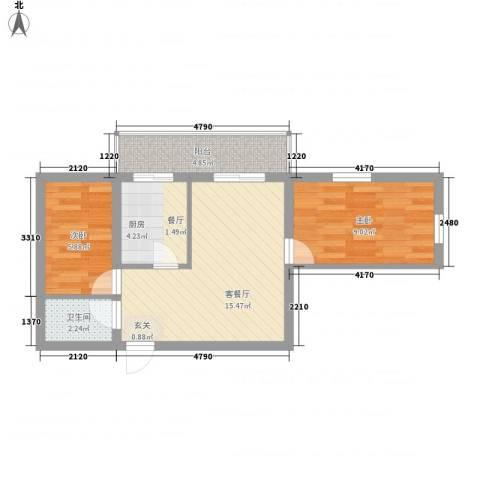 龙房名苑2室1厅1卫1厨61.00㎡户型图