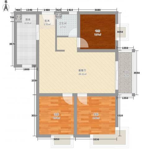 新长安广场3室1厅1卫1厨75.73㎡户型图