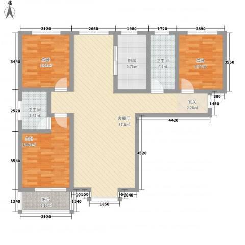 翡翠�亭3室1厅2卫1厨122.00㎡户型图