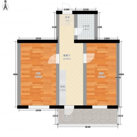 龙房名苑2室1厅1卫0厨49.00㎡户型图