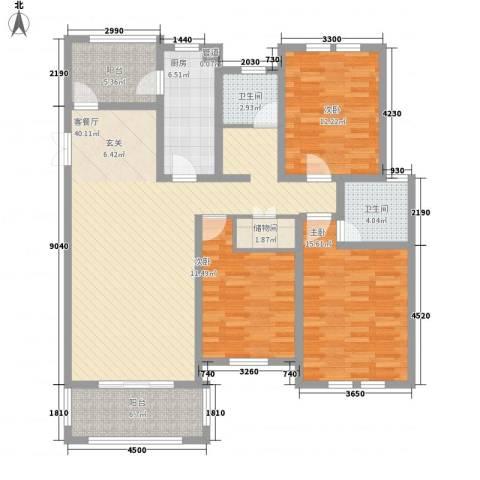书香苑3室1厅2卫1厨129.00㎡户型图