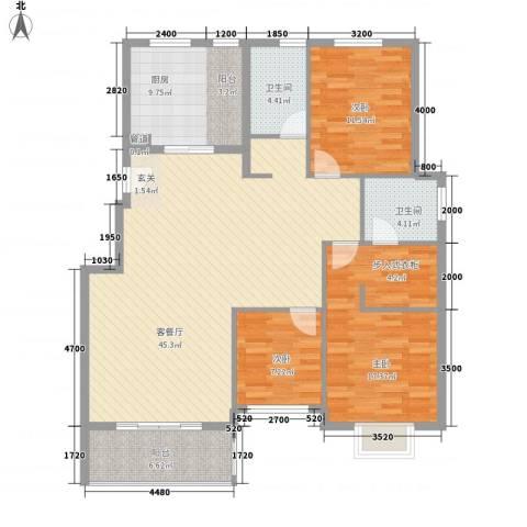 清泉花园3室1厅2卫1厨148.00㎡户型图