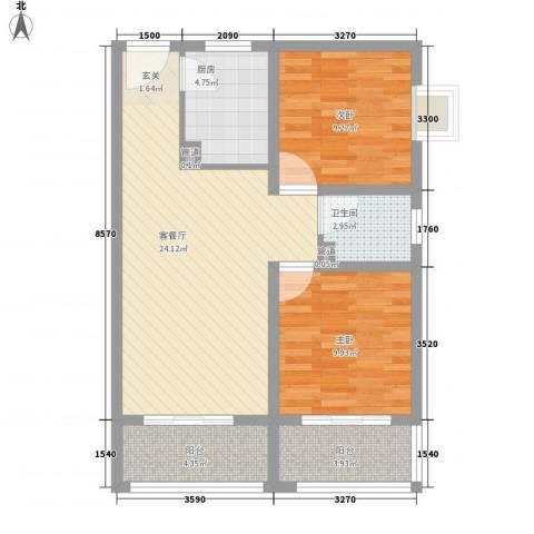 新长安广场2室1厅1卫1厨69.36㎡户型图