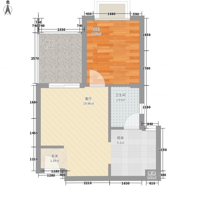溪山御景54.63㎡S1户型1室1厅1卫1厨