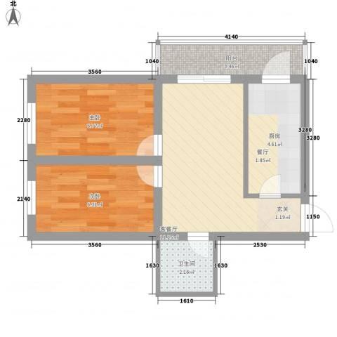 龙房名苑2室1厅1卫1厨51.00㎡户型图