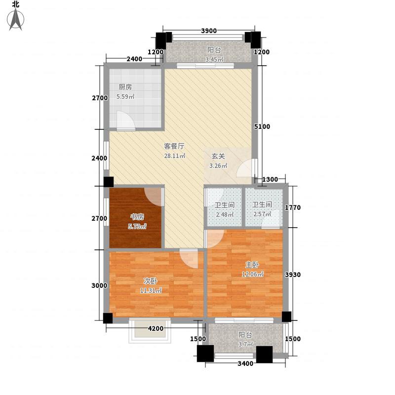 锦绣柚都88.00㎡16-18#楼标准房户型3室2厅2卫1厨