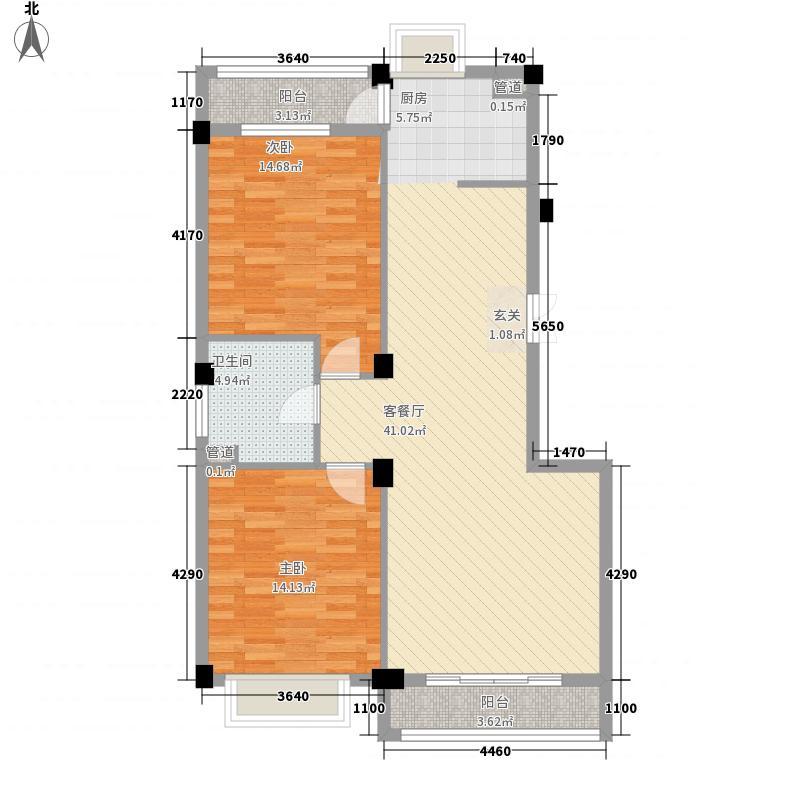 中央华府116.61㎡2室2厅1卫1厨