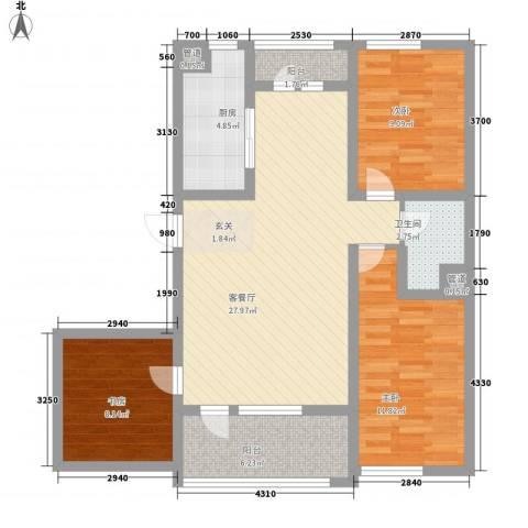 托斯卡纳3室1厅1卫1厨101.00㎡户型图