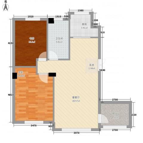 钛子阁2室1厅1卫1厨94.00㎡户型图