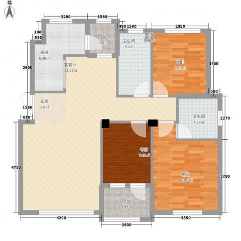 钛子阁3室1厅2卫1厨120.00㎡户型图