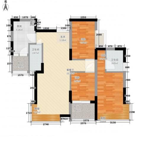 江湾国际3室1厅2卫1厨97.00㎡户型图