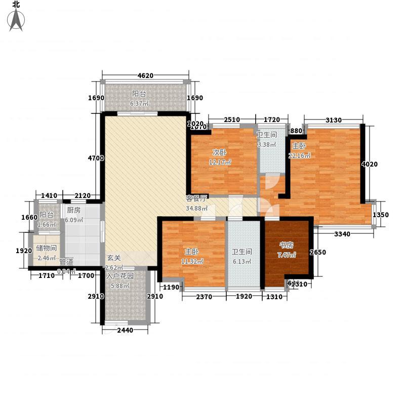 万象天成13.00㎡5栋标准层D户型4室2厅2卫