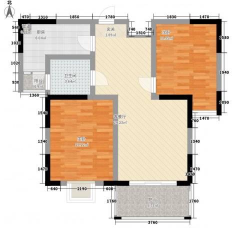苏尚帝景2室1厅1卫1厨95.00㎡户型图