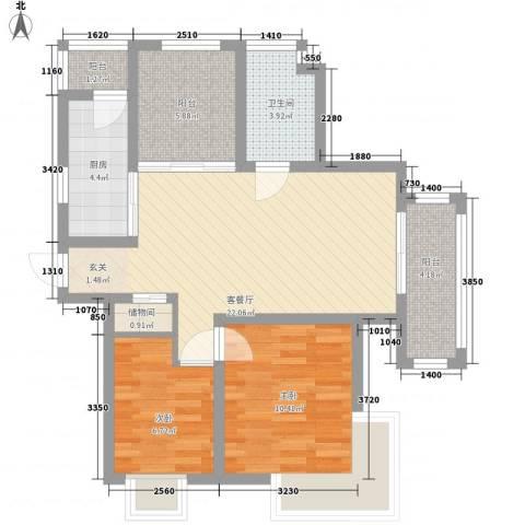 雅戈尔潇邦2室1厅1卫1厨89.00㎡户型图