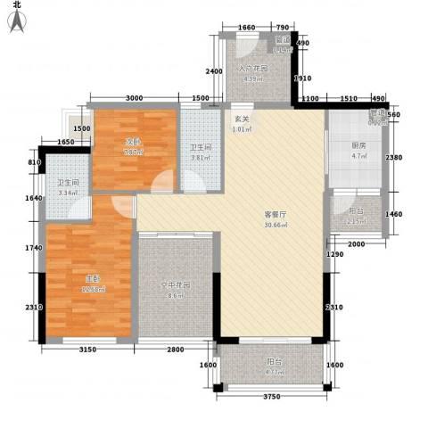 皇家公馆三期2室1厅2卫1厨94.00㎡户型图