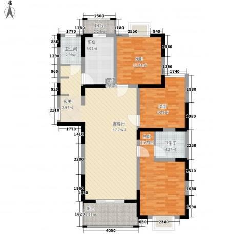 苏尚帝景3室1厅2卫1厨141.00㎡户型图