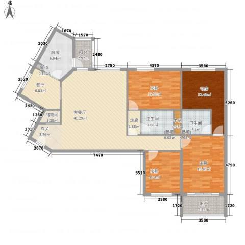 滨河小区4室2厅2卫1厨141.80㎡户型图