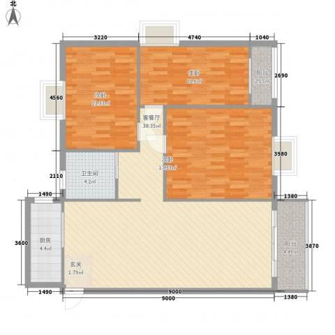 金湖雅苑3室1厅1卫1厨132.00㎡户型图