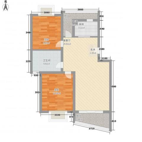 圣地亚哥2室1厅1卫1厨92.00㎡户型图