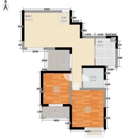 金陵王榭2室1厅1卫1厨83.00㎡户型图