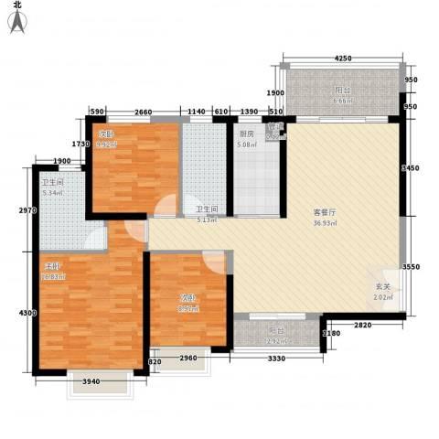 防城港恒大御景湾3室1厅2卫1厨97.89㎡户型图
