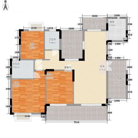 翠馨华庭3室1厅2卫1厨128.34㎡户型图