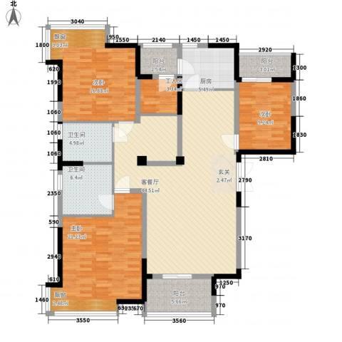 天门湖新界3室1厅2卫1厨123.27㎡户型图