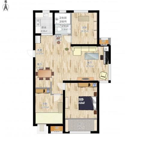 中建新悦城3室1厅1卫1厨128.00㎡户型图