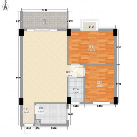海悦新都会2室1厅1卫1厨89.00㎡户型图