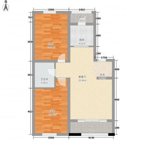 托斯卡纳2室1厅1卫1厨93.00㎡户型图