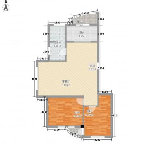 龙海滨城2室1厅1卫1厨105.00㎡户型图