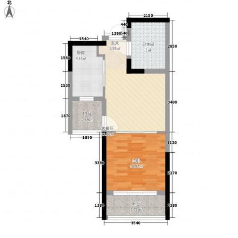 裕川家园1室1厅1卫1厨55.00㎡户型图