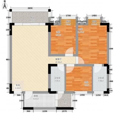 益田大运城邦住宅3室1厅2卫1厨100.00㎡户型图