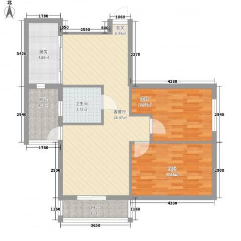 龙海滨城2室1厅1卫1厨91.00㎡户型图