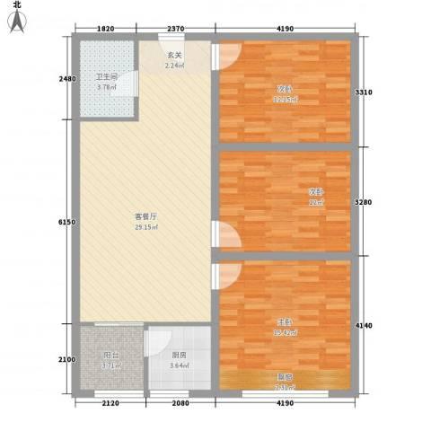 香港城小米公寓3室1厅1卫1厨112.00㎡户型图