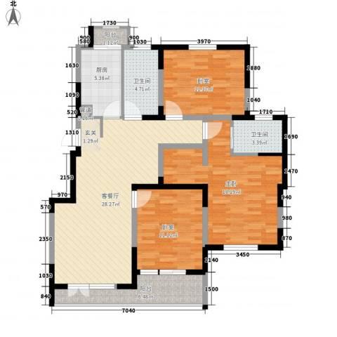 世家星城1室1厅2卫1厨130.00㎡户型图