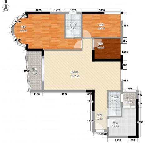 逸景翠园御景轩3室1厅2卫1厨110.00㎡户型图