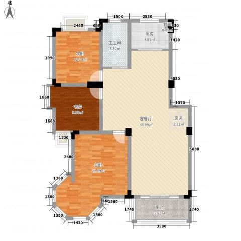 名邦西城秀里3室1厅1卫1厨115.00㎡户型图