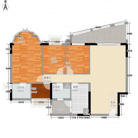 逸景翠园御景轩4室1厅2卫1厨145.00㎡户型图